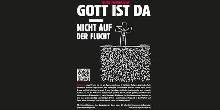 """Die Anzeige zur Aktion """"Gott ist da"""" in der FAZ. Foto: Stiftung Marburger Medien"""
