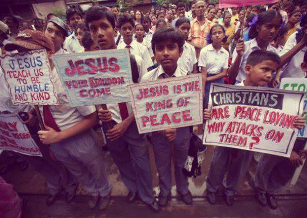 Demo Indien Christliche Demonstration
